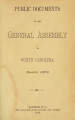 Public documents of the General Assembly of North Carolina [1879]