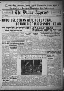 The Dallas Express (Dallas, Tex.), Vol. 31, No. 19, Ed. 1 Saturday, March 22, 1924 The Dallas Express