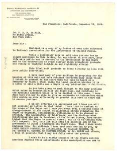 Letter from Sidney M. Van Wyck, Jr. to W. E. B. Du Bois