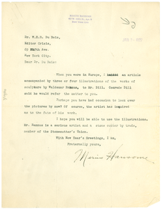Letter from Marius Hansome to W. E. B. Du Bois