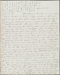 Letter from Anne Warren Weston, Chauncy Place, [Boston], to Maria Weston Chapman, April 15, 1841