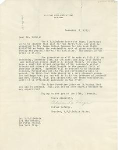 Letter from Oliver La Farge to W. E. B. Du Bois