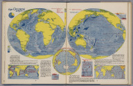 The Oceans. (to accompany) Atlas Of Global Geography. By Erwin Raisz. Lectures in Cartography, Institute Of Geographical Exploration, Harvard University, Cambridge, Mass. ... Global Press Corporation, Publishers. New York, N.Y. Sole Distributors: Harper & Brothers, New York. (on verso) Copyright 1944, by Global Press Corporation. Atlas of Global Geography. By Erwin Raisz ... Global Press Corporation, Publishers. New York, N.Y. Sole Distributors: Harper & Brothers, New York. (on verso) Copyright 1944, by Global Press Corporation. The Oceans