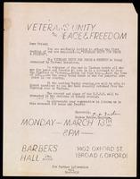Handbill. Veterans Unity for Peace & Freedom
