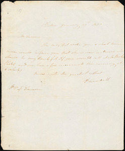 Letter from Prudence Crandall, Boston, [Massachusetts], to William Lloyd Garrison, 1833 January 29th