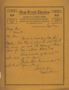 Letter: Jacksonville, Florida to Ben Stein, Macon, Georgia, 1927 Sept. 23