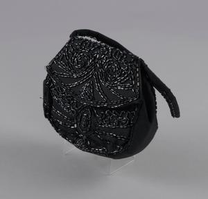 Black beaded handbag from Mae's Millinery Shop