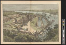 General view of the buildings and ground of the Detroit International Fair and Exposition. : Supplement to Harper's Weekly, August 17, 1889. / Drawn by Schell and Hogan.