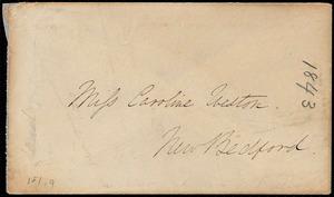 Envelope addressed to Caroline Weston, 1843