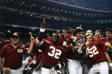 Alabama players and coaching staff after the 1980 Sugar Bowl game at the Superdome in New Orleans, Louisiana.