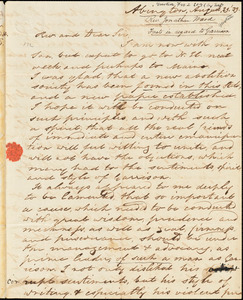 Letter from Jonathan Ward, Abington, [Massachusetts], to Amos Augustus Phelps, 1839 August 29th