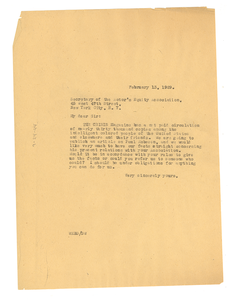 Letter from W. E. B. Du Bois to the secretary of the Actor's Equity Association
