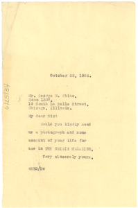 Letter from W. E. B. Du Bois to George N. White