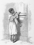 A Black girl looks wonderingly into the holy-water fountain