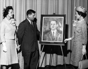 Helen and Ruth Davis presenting a portrait of their father, Jackson Davis which is to be placed in Jackson Davis Elementary School in Henrico County Virginia. Portrait painted by Ruth Davis Langhorne