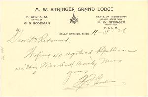 Letter from G. S. Goodman to S. D. Redmond