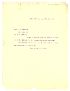 Letter from W. E. B. Du Bois to M. A. Hawkins