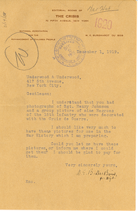 Letter from W. E. B. Du Bois to Underwood & Underwood