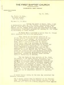 Letter from Mordecai W. Johnson to W. E. B. Du Bois