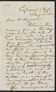 Thumbnail for Marcus Spring autograph letter signed to Thomas Wentworth Higginson, Eagleswood, Perth Amboy N.J., 20 January 1860