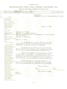 Letter from American Association for the United Nations to W. E. B. Du Bois
