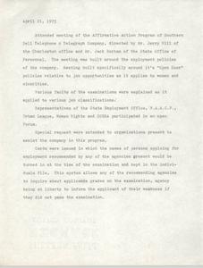 Affirmative Action Program Notes, April 21, 1975