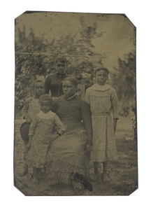 Tintype of a woman and four children
