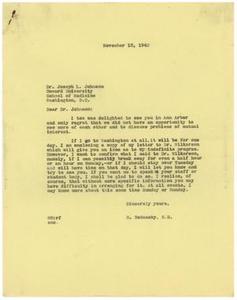 [Correspondence between Dr. Meyer Bodansky, Dr. Carl Lovelace, and Dr. Joseph L. Johnson - October 14-November 12, 1940]