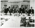 Dunbar Center Recreation Center. Top row from left: (?) Spencer, Curtis MacDowell, William Bristoll, Herman Branch, Edward Brooks, Richard Breland, Vincent Alexander, Eugene Morgan. Bottom row from left: Connie Harrison, Mildred Sease, Mildred West, Sophronia Mordecai, Barbara Moore, Lupe Hernandez, Vera Stokes.