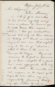 Letter from William Cooper Nell, Boston, [Mass.], to Maria Weston Chapman, July 27th, 1840