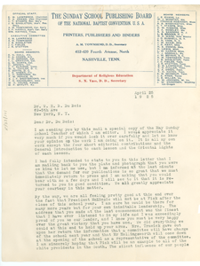 Letter from Sunday School Publishing Board to W. E. B. Du Bois
