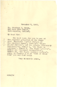 Letter from W. E. B. Du Bois to Theodore R. Brown