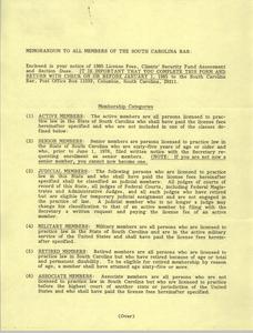 Memorandum, South Carolina Bar, 1985
