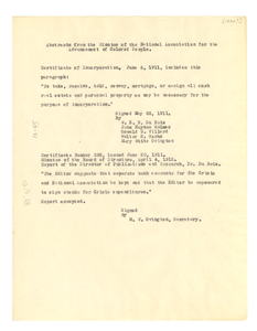 Abstracts from the Minutes of the National Association for the Advancement of Colored People