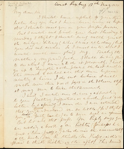 Letter from Theodore Parker, West Roxbury, [Massachusetts], to Convers Francis, 1838 May 17