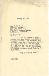 Letter from W. E. B. Du Bois to W. N. Jones