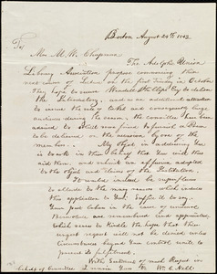 Letter from William Cooper Nell, Boston, [Mass.], to Maria Weston Chapman, August 24th, 1842