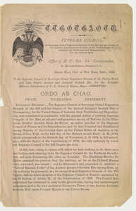 Letter from Sovereign Grand Commander Peter W. Ray to the Supreme Council, 1884 September