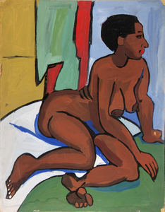 Female Nude Reclining on White Cloth