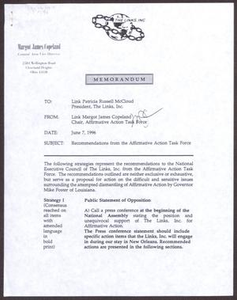 Memorandum from Margot James Copeland to Patricia Russell-McCloud - June 7, 1996 San Antonio Chapter of Links Records Links National Papers