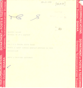 Telegram from N.A.A.C.P. to Mrs. W. E. B. Du Bois