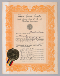 Order of Eastern Star certificate received by Mary Sims