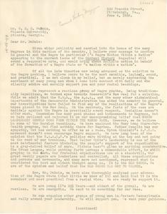 Letter from Ivorey Cobb to W. E. B. Du Bois
