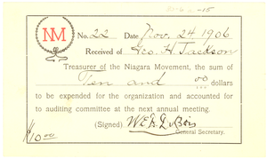Niagara Movement Receipt No. 22