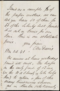 Letter from Edward Morris Davis to Maria Weston Chapman, 10 m[onth] 1st [day] [18]41