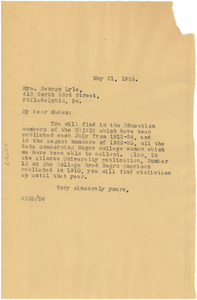 Letter from W. E. B. Du Bois to Sesqui-Centennial International Exposition