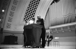 Martin Luther King at podium, Hill Auditorium, November 11, 1962 (frame 15)
