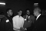 Bondie, Bo, and Brandon Gambrell talking with David Dinkins, Los Angeles, 1989
