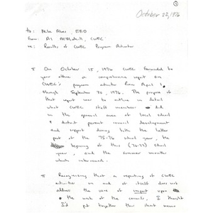 Letter, Results of CWEC program activities, October 22, 1976