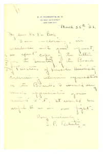 Letter from E. P. Roberts to W. E. B. Du Bois
